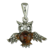 Sterling silver Cognac amber set owl pendant